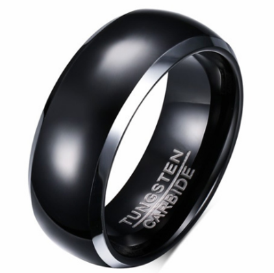 8mm Polished Finished Black Tungsten Carbide Beveled Edge Dome Ring