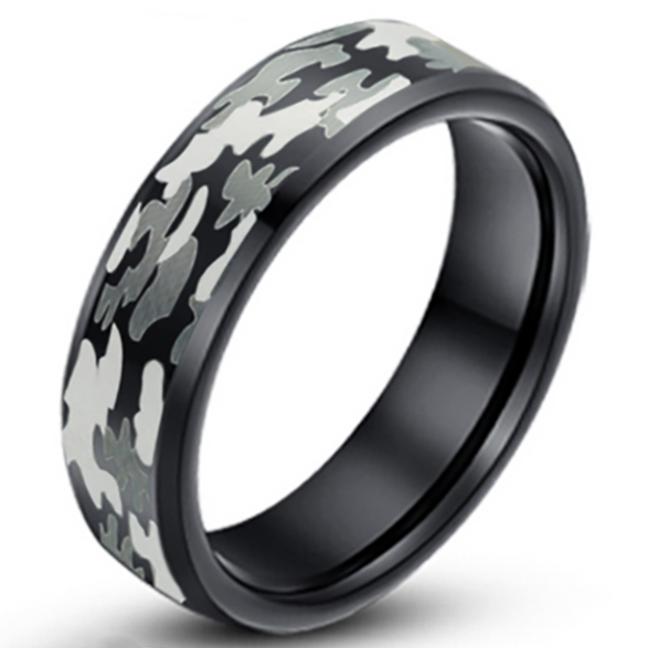 6mm Matte Finished Black Tungsten Carbide Flat Edge Ring With Gray Camo Design