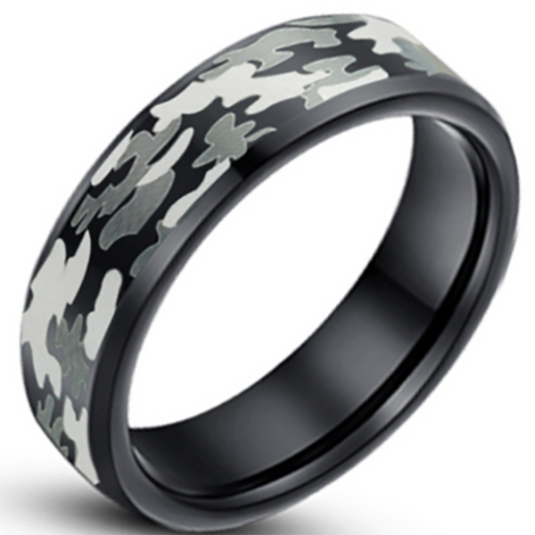 8mm Matte Finished Black Tungsten Carbide Flat Edge Ring With Gray Camo Design