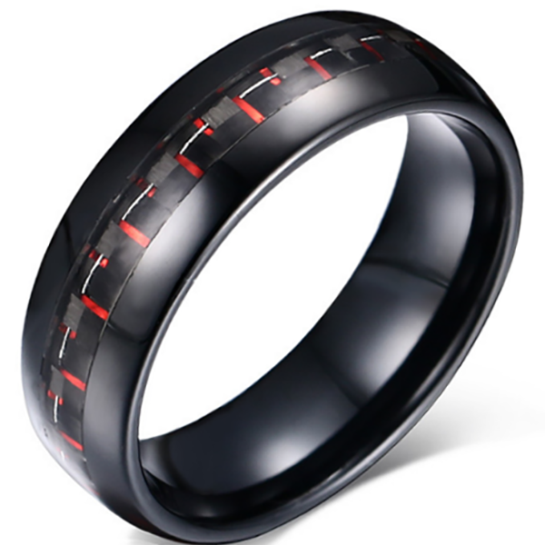 8mm Matte Finished Black Tungsten Carbide Flat Edge Dome Ring With Black And Red Carbon Fiber Inlay