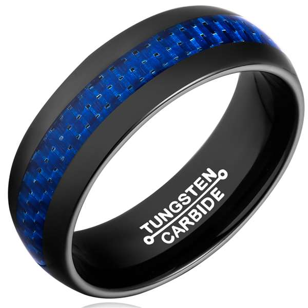 8mm Matte Finished Black Tungsten Carbide Flat Edge Ring With Blue Carbon Fiber Inlay