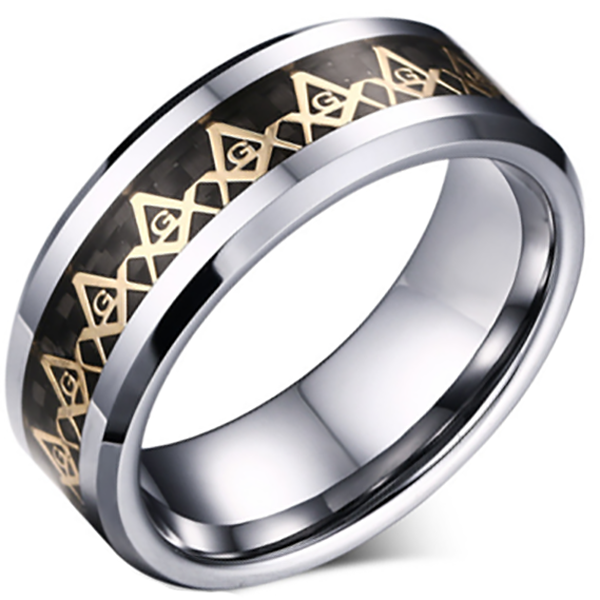 8mm Polished Finished Silver Tungsten Carbide Beveled Edge Ring With Black Carbon Fiber And Freemason Inlay