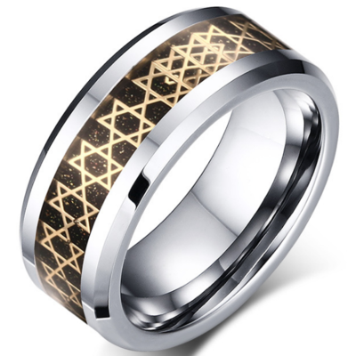 8mm Polished Finished Silver Tungsten Carbide Beveled Edge Ring With Black Carbon Fiber And Gold Foil Inlay