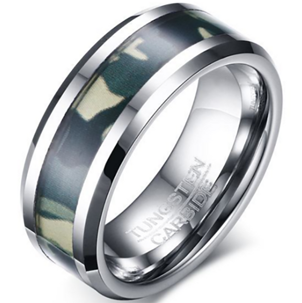 8mm Polished Finished Silver Tungsten Carbide Beveled Edge Ring With Camo Inlay