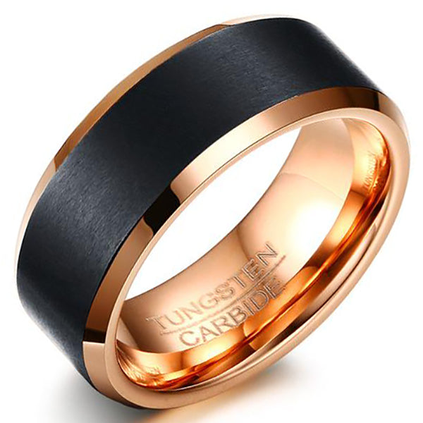 8mm Matte Finished 18K Rose Gold Tungsten Carbide Beveled Edge Ring With Black Matte Brushed Center