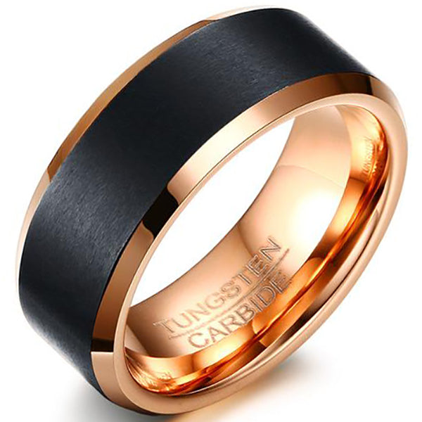 8mm Polished Finished Gold Tungsten Carbide Flat Edge Dome Ring With Black Matte Brushed
