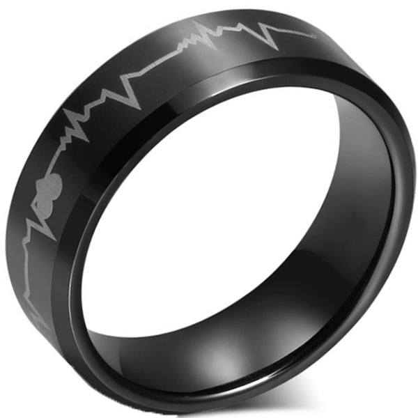 8mm Matte Finished Black Tungsten Carbide Beveled Edge Ring With Heart Beat Design