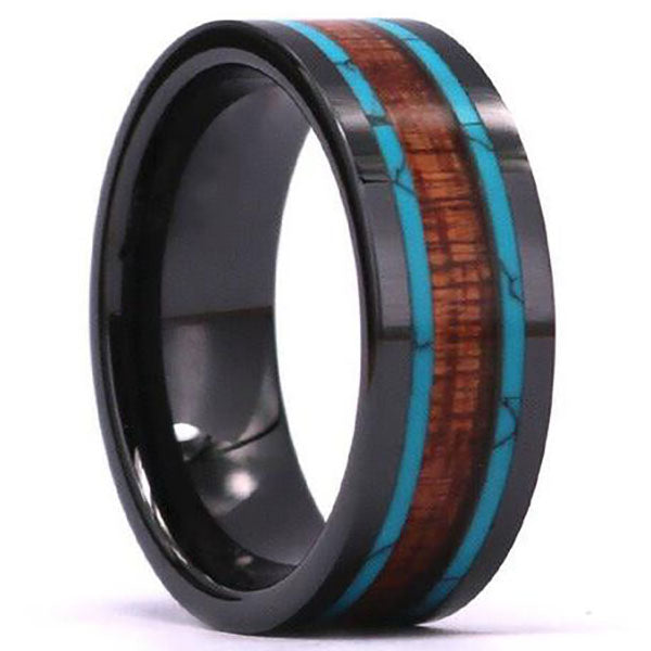 8mm Matte Finished Black Ceramic Flat Edge Ring With Double Marble And Wood Center Inlay