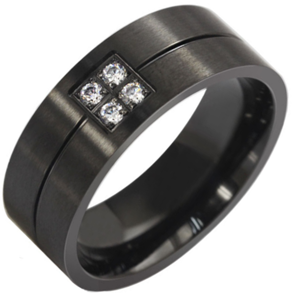 8mm Matte Finished Black Titanium Flat Edge Ring With 4 Gemstones