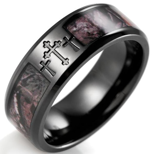 8mm Matte Finished Black Titanium Flat Edge Ring With Camo Inlay