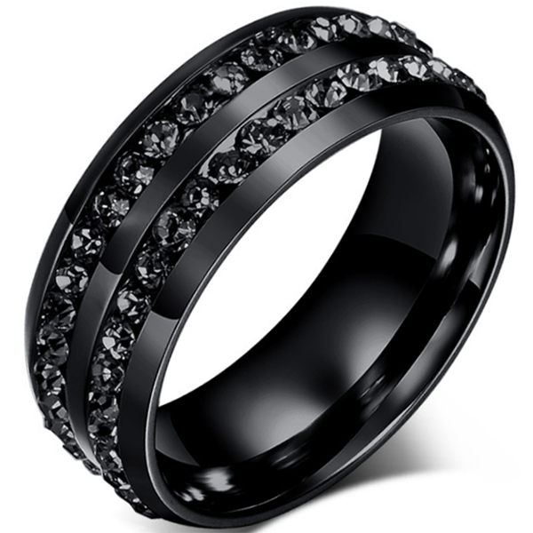 8mm Matte Finished Black Titanium Flat Edge Ring With Double Roll Of  Black Gemstone