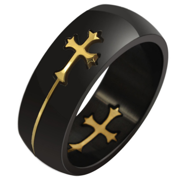 8mm Matte Finished Black Titanium Flat Edge Ring With Gold Cross