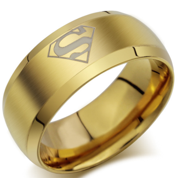 8mm Matte Finished Gold Titanium Beveled Edge Ring With Superman Logo Design