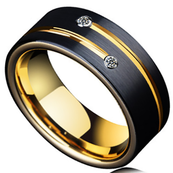 8mm Matte Finished 18k Gold Tungsten Carbide Flat Edge Ring With Black Matte Brushed And Gemstones
