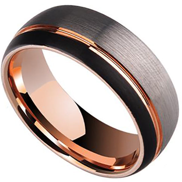 8mm Matte Finished Rose Gold Tungsten Carbide Flat Edge With Silver Matte Brushed And Groove