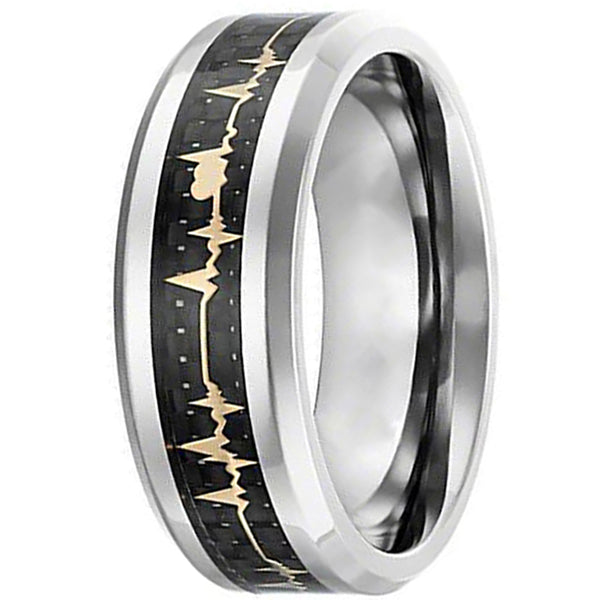 8mm Matte Finished Silver Ceramic Beveled Edge With Black Carbon Fiber Gold Heartbeat Design