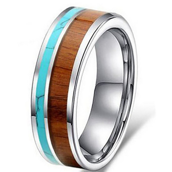 8mm Matte Finished Silver Ceramic Flat Edge Ring With Turquoise Marble And Wood Inlay