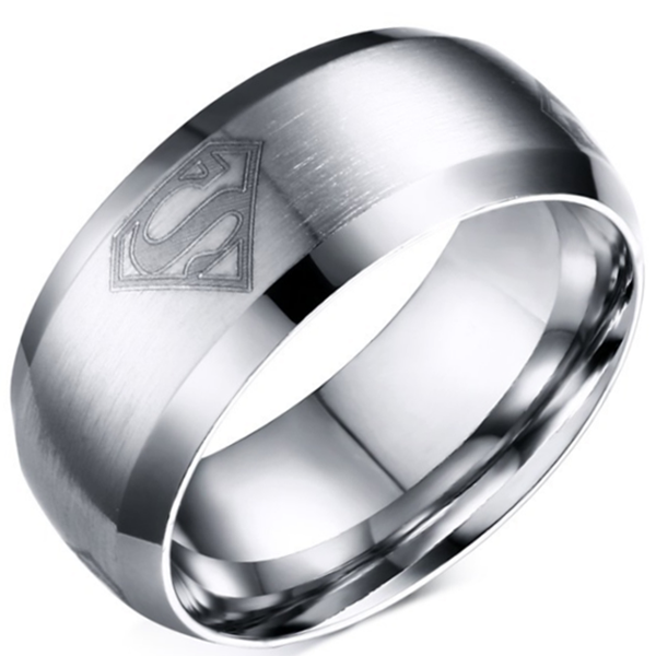 8mm Matte Finished Silver Titanium Beveled Edge Ring With Superman Logo Design