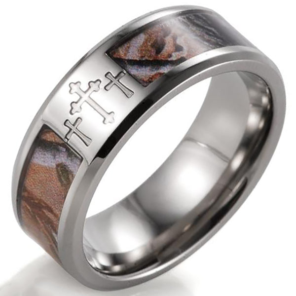 8mm Matte Finished Silver Titanium Flat Edge Ring With Camo Inlay