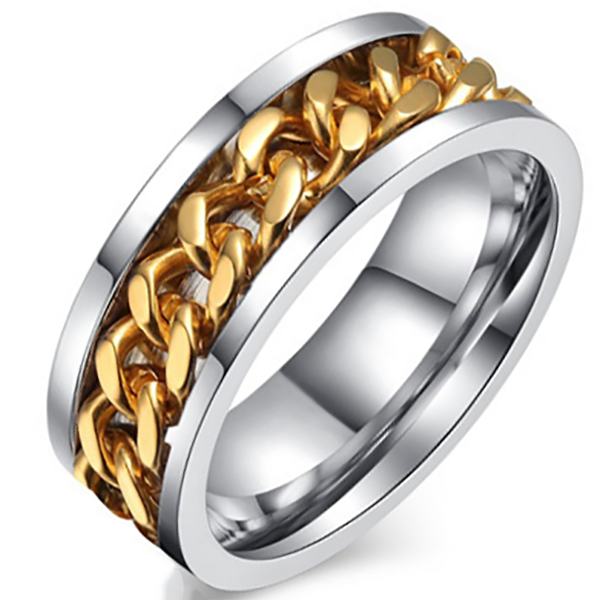 8mm Matte Finished Silver Titanium Flat Edge Ring With Center Groove Gold Chain Spinner