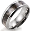8mm Matte Finished Silver Titanium Beveled Edge Ring With Leaves Design Inlay