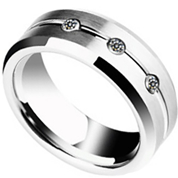 8mm Matte Finished Silver Tungsten Carbide Beveled Edge Ring  With Center Grooved And Gemstones