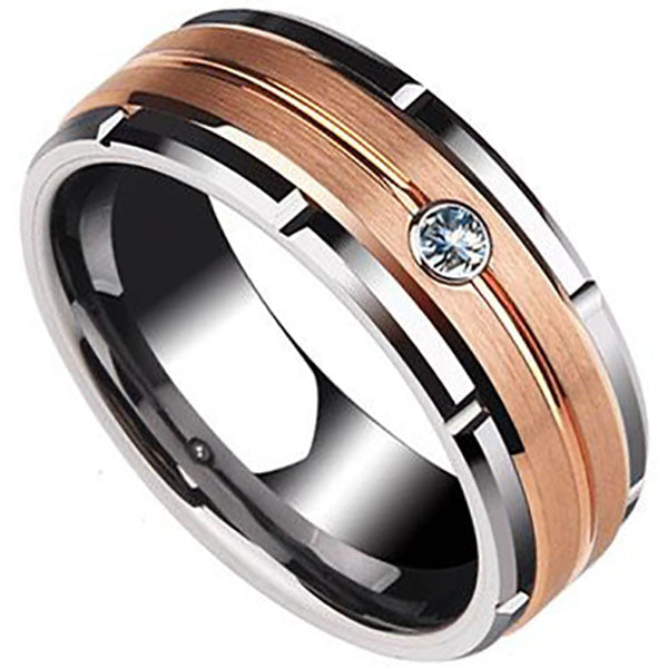 8mm Polished Finished Silver Tungsten Carbide Beveled Edge Ring With Rose Gold Matte Brushed And Gemstone