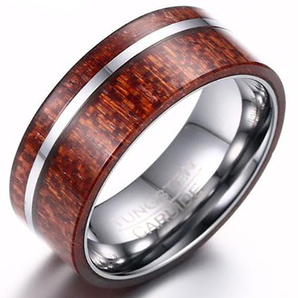 8mm Matte Finished Silver Tungsten Carbide Flat Edge Ring With Wood Design