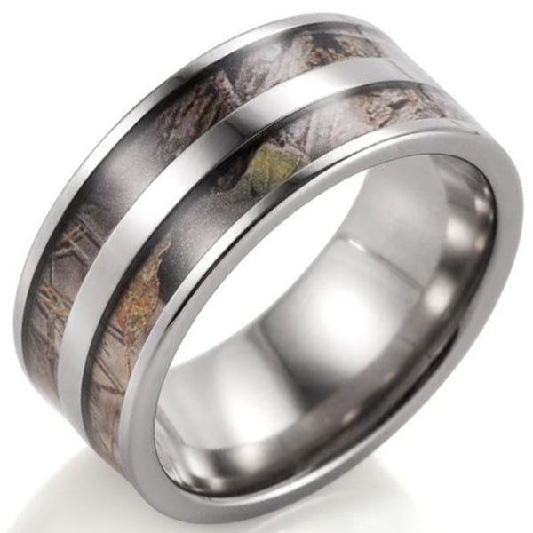 8mm Matte Polished Finished Silver Titanium Flat Edge Ring With Double Camo Inlay