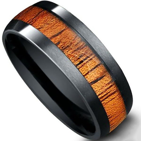 8mm Polished Finish Black Tungsten Carbide Flat Edge Ring With Wood Inlay