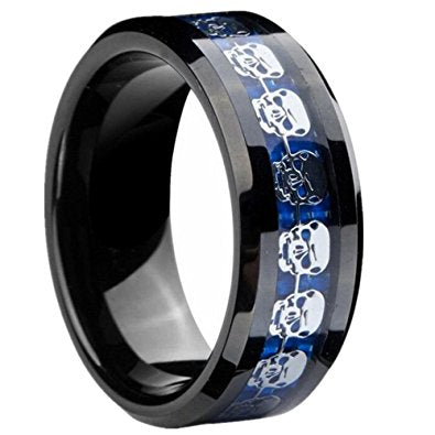 8mm Polished Finished Black Ceramic Beveled Edge Ring With Blue Carbon Fiber And Skull Design Inlay