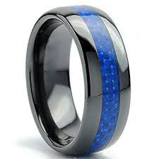 8mm Polished Finished Black Ceramic Flat Edge Ring With Blue Carbon Fiber Inlay