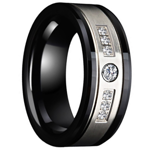 8mm Polished Finished Black Ceramic Flat Edge Ring With Matte Silver Brushed Center And Gemstones