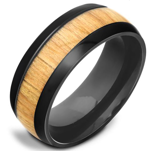 8mm Polished Finished Black Titanium Flat Edge Ring With Light Colored Wood Inlay
