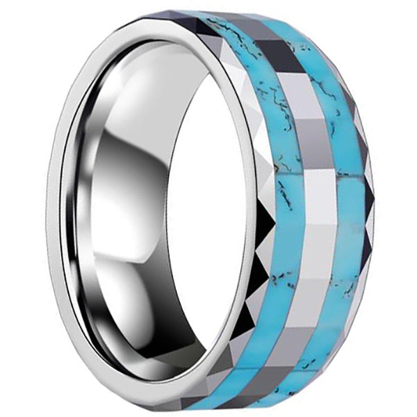 8mm Polished Finished Silver Ceramic Faceted Edge Ring With Double Turquoise Marble Inlay
