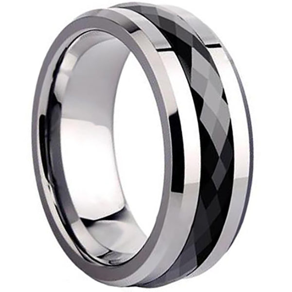 8mm Polished Finished Silver Ceramic Beveled Edge Ring With Black Faceted Center