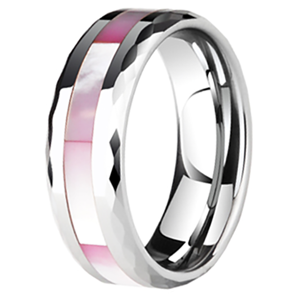 8mm Polished Finished  Silver Ceramic Faceted Edge Ring With Pink Shell Inlay