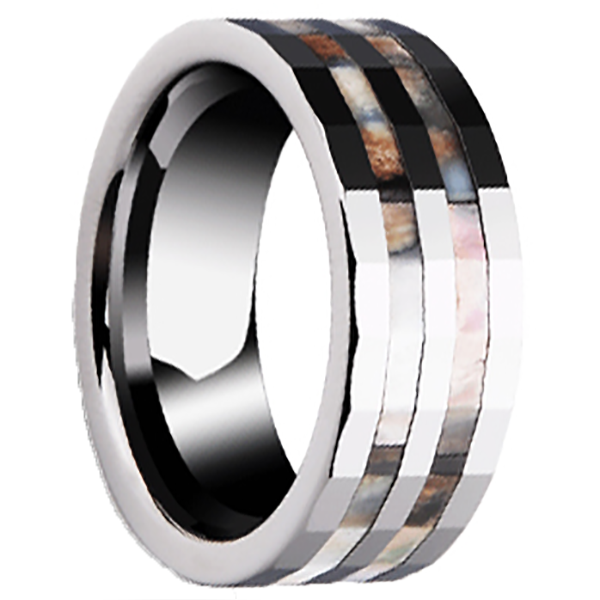 8mm Polished Finished Silver Ceramic Faceted Edge Ring With Double Colourful Shell Inlay