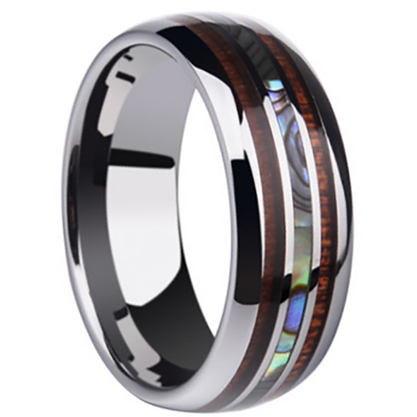 8mm Polished Finished Silver Ceramic Flat Edge Ring With Double Wood And Abalone Shell Center Inlay