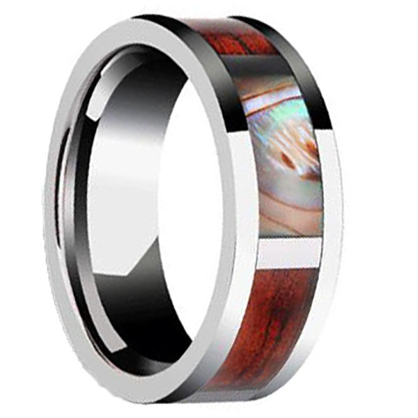 8mm Polished Finished Silver Ceramic Flat Edge Ring With Shell and Wood Inlay