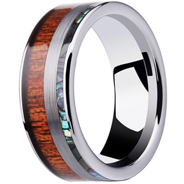 8mm Polished Finished Silver Ceramic Flat Edge Ring With Wood And Abalone Shell Inlay