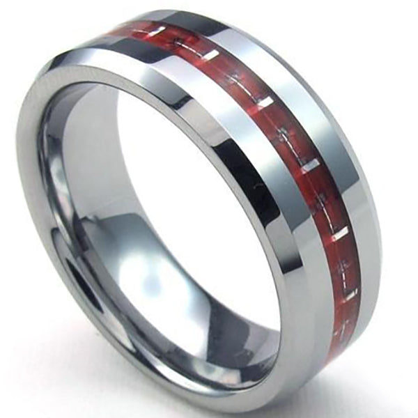 8mm Polished Finished Silver Tungsten Carbide Beveled Edge Ring With Red Carbon Fiber