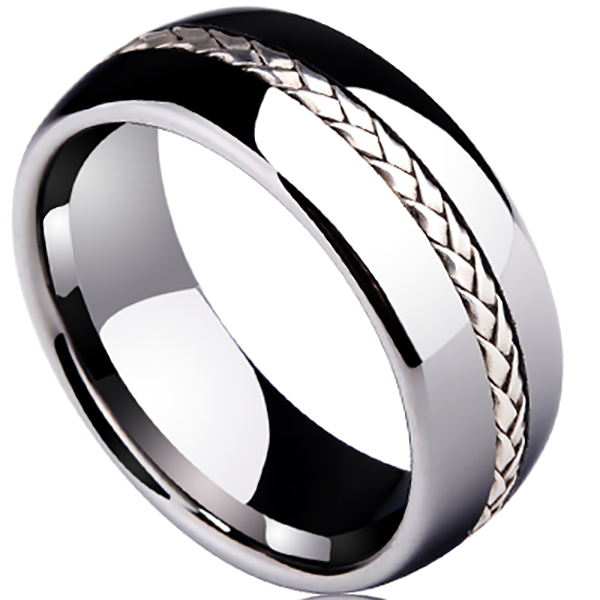 8mm Polished Finished Silver Tungsten Carbide Flat Edge Domed Shape Ring With Center Groove 925 Silver Braided