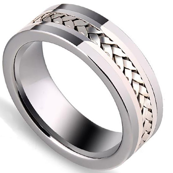 8mm Polished Finished Silver Tungsten Carbide Flat Edge Ring With Center Groove 925 Silver Braided