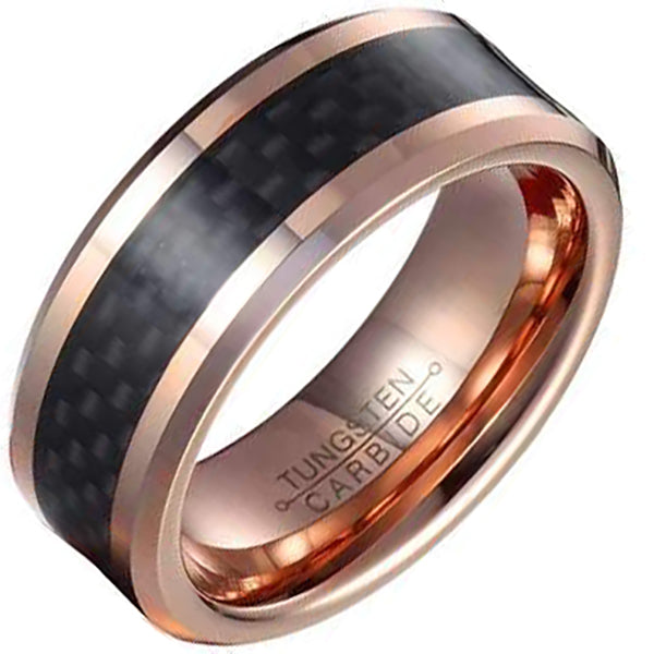 8mm Polished Finished Rose Gold Tungsten Carbide Beveled Edge Ring With Black Carbon Fiber Inlay