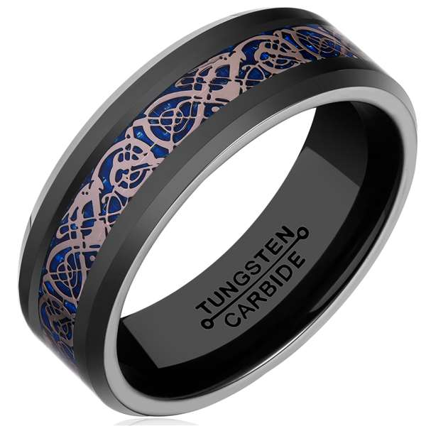 8mm Polished Finished Black Tungsten Carbide Beveled Edge Ring With Blue Carbon Fiber And Celtic Dragon Inlay