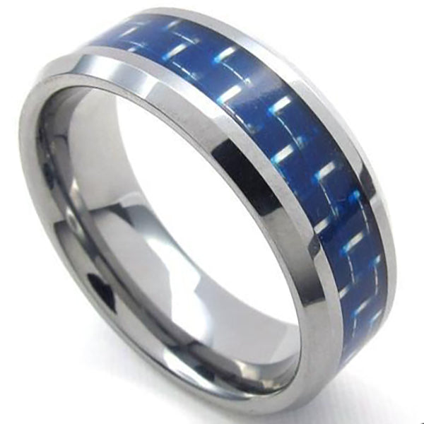 8mm Polished Finished Silver Tungsten Carbide Beveled Edge Ring With Blue Carbon Fiber Inlay