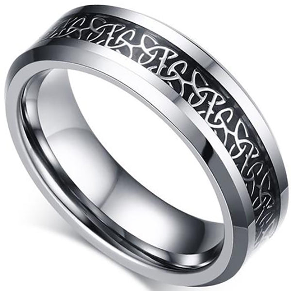 8mm Polished Finished Silver Tungsten Carbide Beveled Edge Ring With Black Carbon Fiber Silver Celtic Dragon Inlay