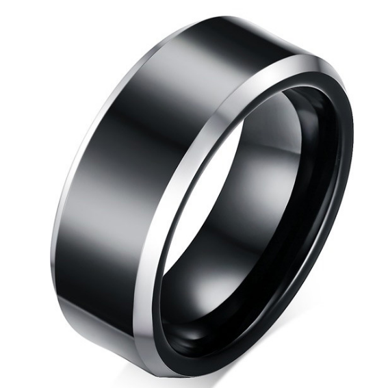 8mm Matte Finished Black Tungsten Carbide Beveled Edge Ring