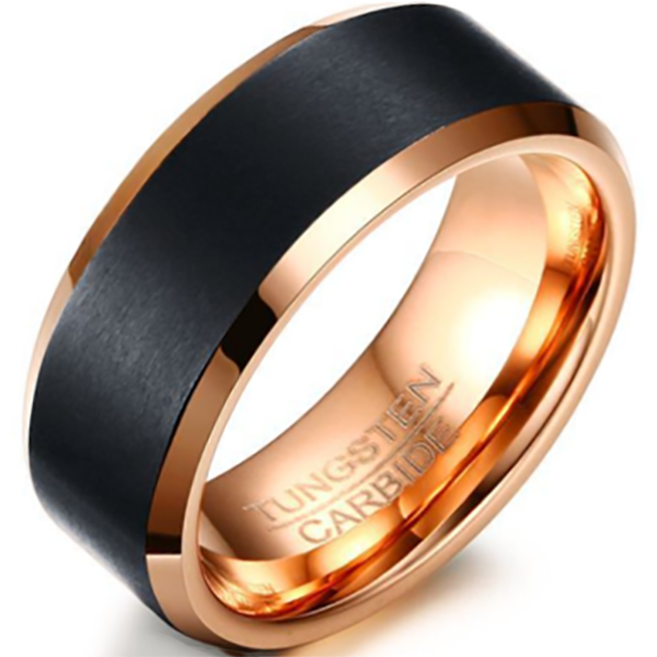 8mm Polished Finished 18K Rose Gold Tungsten Carbide Beveled Edge Ring With Black Matte Brushed